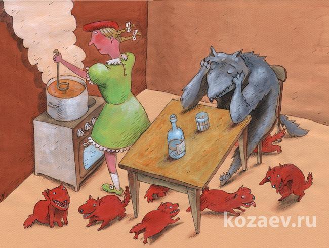 красная шапочка волк продолжение Little Red Riding Hood Wolf continued карикатур