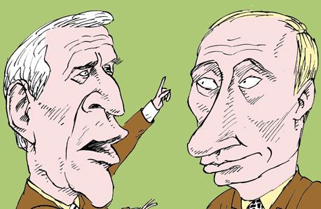 Буш и Путин Bush and Putin темур козаев карикатура temur kozaev cartoon