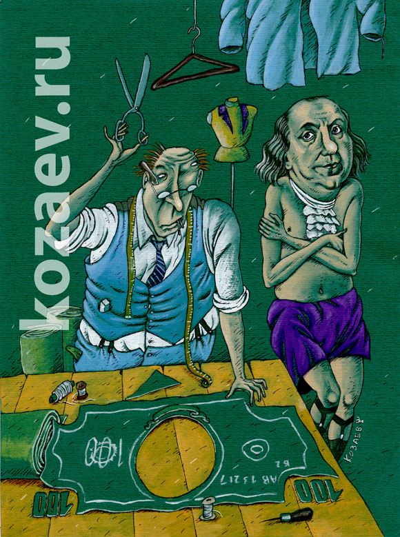 Franlin 100 dollars 100 долларов темур козаев карикатура temur kozaev cartoon