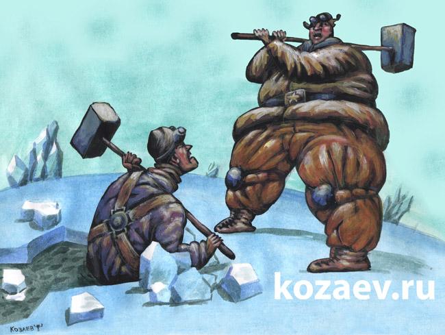 Два ледокола two icebreakers темур козаев карикатура temur kozaev cartoon