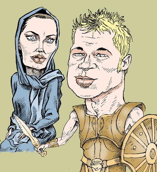 Брэд Питт Анджелина Джоли темур козаев карикатура temur kozaev cartoon