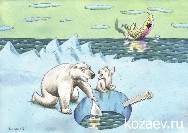 ships and polar bears корабли и белые медведи темур козаев карикатура kozaev