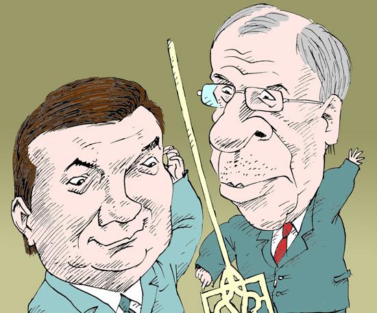 Янукович Лавров Yanukovych Lavrov темур козаев карикатура temur kozaev cartoon