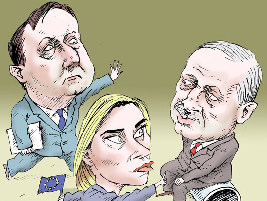 Federica Mogherini David Cameron Erdogan  темур козаев карикатура temur kozaev