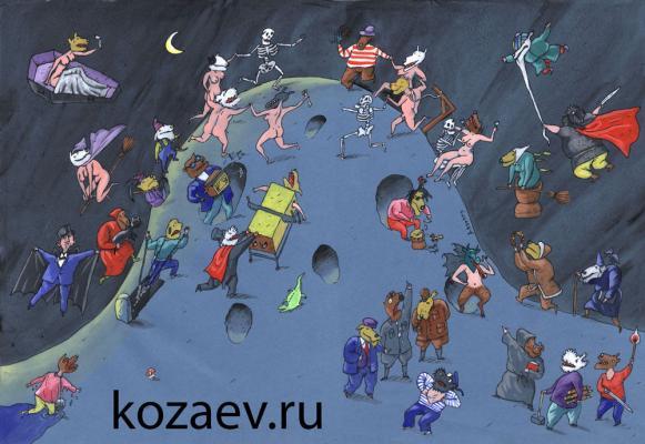 На шабаше Black Sabbath карикатура темур тимур козаев cartoon caricature temur kozaev